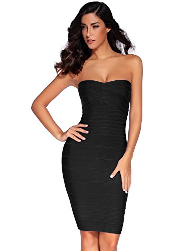 Strapless Bandage - Meilun Women's Rayon Strapless Stretch Bandage Dress Small Black