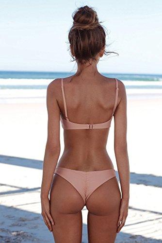 due a costumi pezzi up push Set Bikini tre vita intero Bikini bikini mare lovers pezzi Rosa da Donna punte mare alta Costume due sexy donna Bagno brasiliano Landfox Beachwear Oq46Hw0