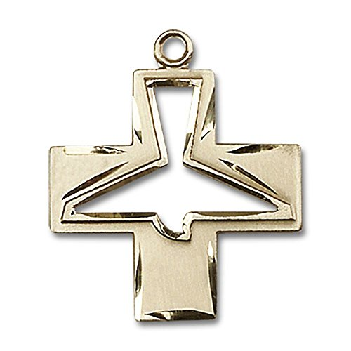 14kt Yellow Gold Holy Spirit Medal 1 1/8 x 1 inches by Unknown