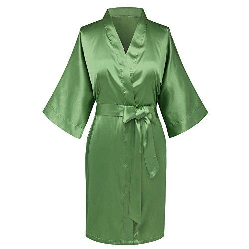 Goodmansam Womens Simplicity Stlye Bridesmaid Wedding Party Kimono Robes, Short, XX-Large, Moss Green