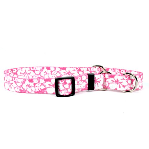 Island Floral Pink Martingale Control Dog Collar - Size Medium 20
