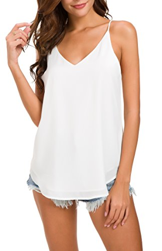 Womens White Blouse - Evera B Women's V-Neck Chiffon Spaghetti Strap Cami Top (Large, ADJ Strap Off WHT)
