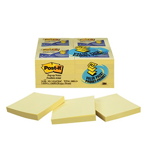 (Post-it Pop-up Notes, America's #1 Favorite Sticky Note, 3 x 3 in, Pop-up Note Refills for Dispenser, Canary Yellow, 100 Sheets per pad, 24 Pack (R330-24VAD))