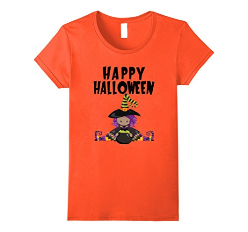 Womens Happy Halloween Witch T-Shirt Funny Scary Pumpkin Tee Shirt XL Orange