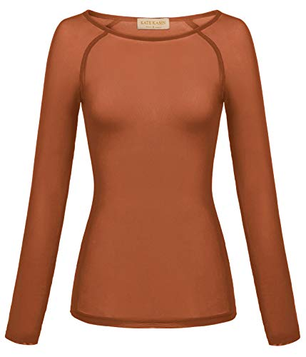 Women's Basic Long Sleeves Mesh Sheer Tops