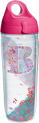 Tervis 1240166 INITIAL-B Botanical Insulated Tumbler with Wrap and Passion Pink Lid 24oz Water Bottle Clear