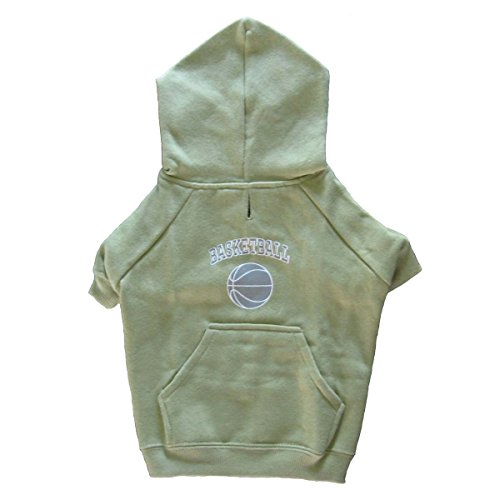 Green Hooded Basketball Dog Sweatshirt - X-Small Casual Canine Sports Knit Pullover Hoodie With Pocket