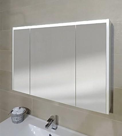 Specchiera specchio bagno pensile contenitore 3 ante, fascia led, cm ...