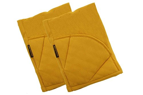 Rachael Ray Multifunctional 2-in-1 Moppine, Ultra Absorbent Kitchen Towel & Heat Resistant Pot Holder Mustard (Pack of 2)