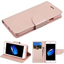 """Case+Film MYBAT MyJacket with Credit Card Slot Fits Apple iPhone 7 Plus/7S Plus/8 Plus 5.5"""" PU Leather Wallet/Purse/Clutch with Tray, Rose Gold Pattern/Rose Gold Liner"""