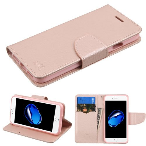 (Case+Tempered_Glass MYBAT MyJacket with Credit Card Slot Fits Apple iPhone 7 Plus/7S Plus/8 Plus PU Leather Wallet/Purse/Clutch Rose Gold/Pink)