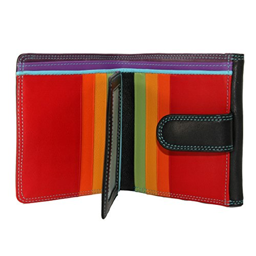 Large French Wallet - BelArno Large French Multi Color Wallet in Black Rainbow Combination (Black