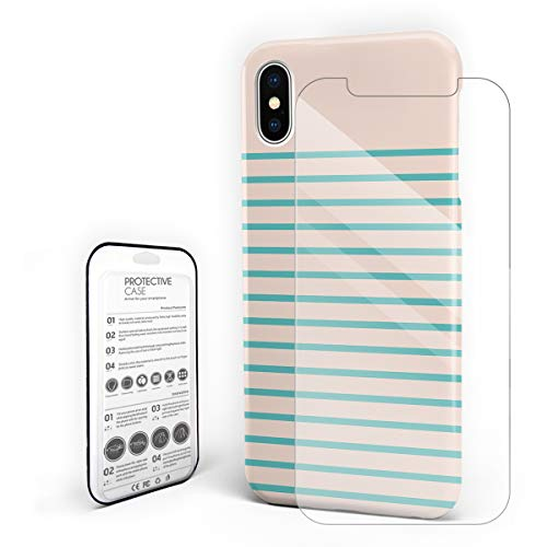 Phone Case Slim Hard PC Back Cover with Glass Screen Protector Set for iPhone X ()