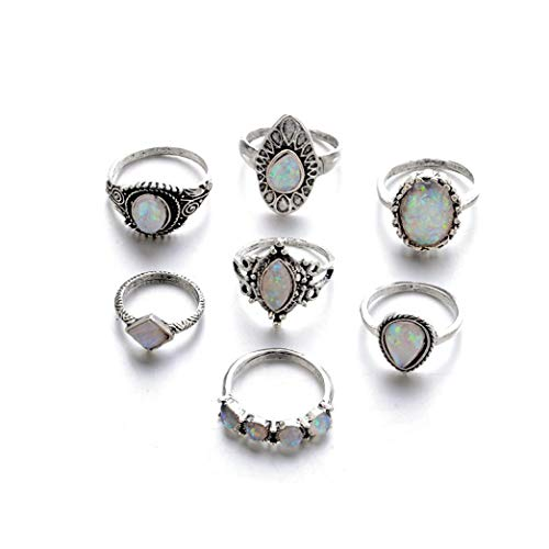 WYTong Women Girl Vintage Knuckle Ring Set Gemstone Moonstone Boho Stackable Rings Set,7 Pieces