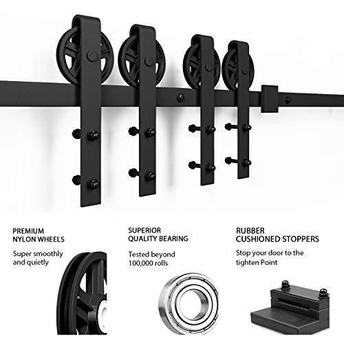 16ft Double Door Sliding Barn Door Hardware Kit - Smoothly and Quietly - Easy to Install - Includes Step-by-Step Installation Instruction -Fit 42''-48'' Wide Door Panel(Big Industrial Wheel Hanger) by SMARTSTANDARD (Image #6)