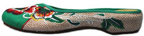 Cunzhai Donna Ricamo Rotondo Punta Chiusa Tessere Pantofole Oxford Stile Sandali 1-verde