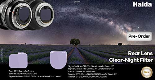 F4.0 Lens Tamron SP 15-30mm f//2.8 Di VC USD Canon EF Haida Shield Clear Night Rear Lens Filter Shockproof Optical Glass Light Pollution HD4648 Compatible with Sigma 14-24mm F2.8 DG HSM Art