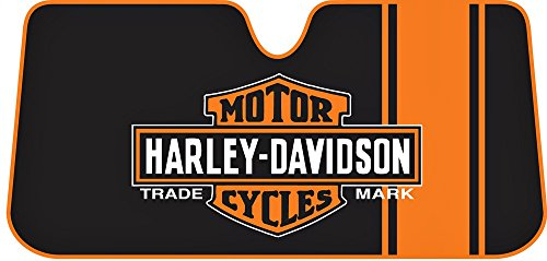 Harley-Davidson Bar & Shield Accordion Style Car Sun Shade, Black/Orange 3731 (Harley Sun Shade)