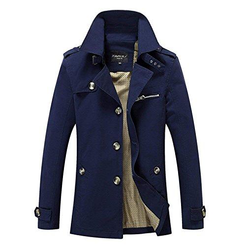 Shilian Clothing Jacket Classic Casual Business Trench Coat England Long,XX-Large,Blue by Shilian clothing Denim-jackets