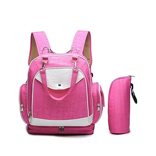 Forme los hombros multi-funcionales bolso antirrobo de la momia, bolso de la madre, madre y bebé mueven el morral del recorrido, bolso del recorrido del bebé ( Color : Rosa Roja ) Rosa Roja
