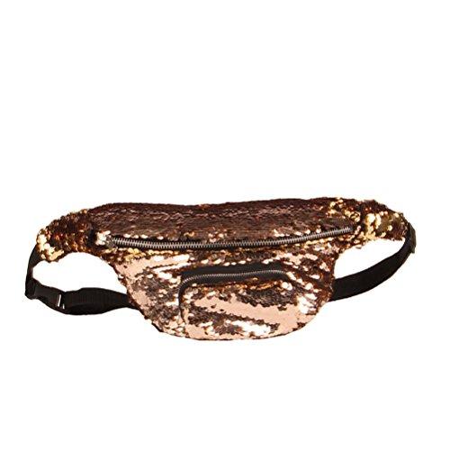 OULII Cintura borsa sportiva Marsupio da escursione regolabile a tracolla glitter in marrone