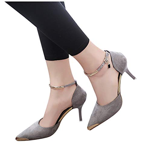(Women Pumps and Heels,Teen Girls Pointed Toe Flock Fashion Sandals Ankle High Thin Heels Party Shoes Ladies Pumps Gray)