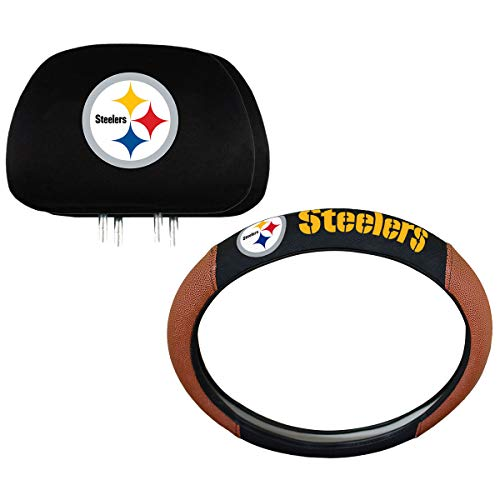 (Team ProMark NFL Pittsburgh Steelers Steering Wheel and Headrest Cover Combo)