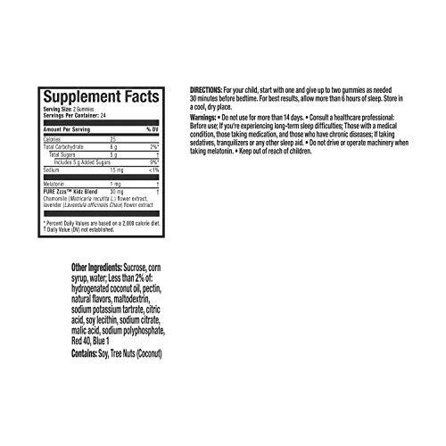 Vicks Pure Zzzs Kidz Melatonin Lavender & Chamomile Sleep Aid Gummies for Kids & Children, Natural Berry Flavor, 0.5mg per gummy, 48 Ct by Vicks (Image #1)