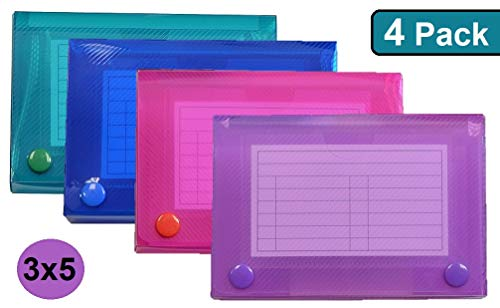 1InTheOffice Index Card Case, 3 x 5 Index Card Holder, Assorted Colors (4 Pack)