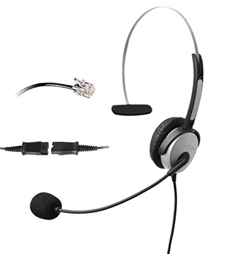 (4Call K500QMA Corded RJ Telephone Headset with NC Microphone +QD+VC for Aastra Nortel Nec Mitel ShoreTel Toshiba Siemens GE InterTel Sprint Talkswitch Iwatsu Packet8 ESI Allworx 3Com Office IP Phones)