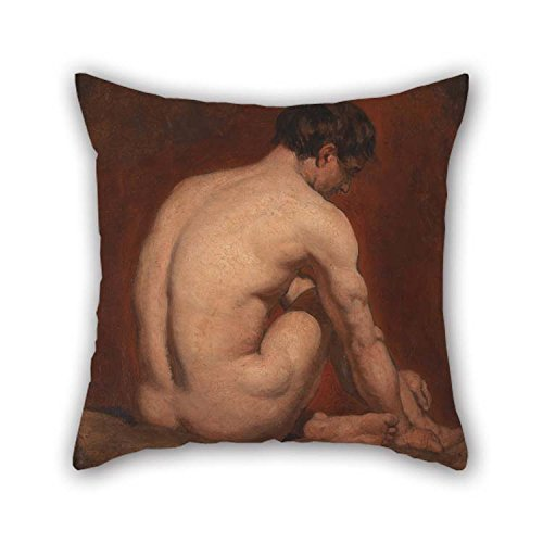 Lovwepilo Throw Cushion Covers of Oil Painting William Etty - Male Nude, Kneeling, from The Back 20 X 20 Inches/Best Fit for Gf Bar Seat Indoor Adults Christmas Play Room