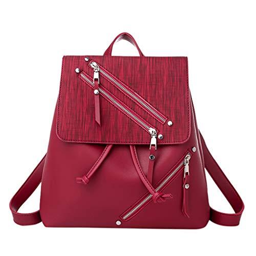 Goddessvan Women Genuine Leather Backpack Casual Shoulder Bag Purse Nylon Zipper Contrast Color Backpack Travel Bag Wine