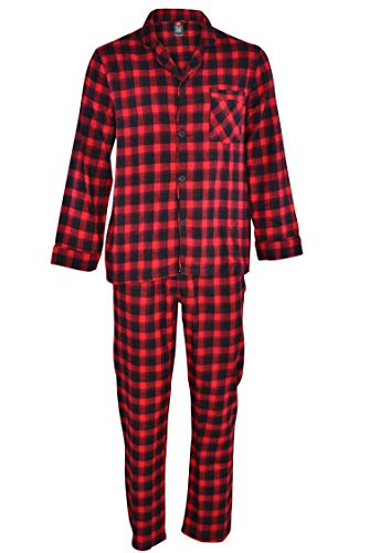 Flannel Pajamas For Men - Hanes Men's 100% Cotton Flannel Plaid Pajama Top and Pant Set, Red, Large