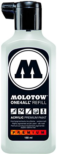 Molotow ONE4ALL Acrylic Paint Refill, For Molotow ONE4ALL Paint Marker, Signal White, 180ml Bottle, 1 Each -