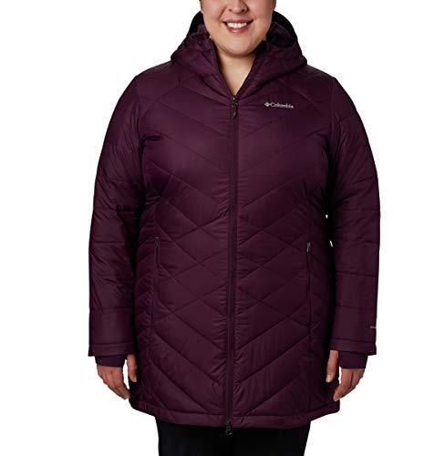 Columbia Women's Heavenly Long Hooded Jacket, Black Cherry, 3X (3x Jackets)