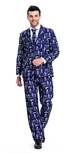 YOU LOOK UGLY TODAY Mens Bachelor Party Suit Funny Costume Novelty Xmas Jacket with Tie Skeleton Blue-XX (Easy Halloween Costumes Men)