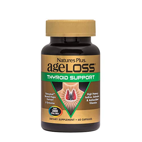 Natures Plus AgeLoss Thyroid Support - 60 Capsules - High Potency Iodine Supplement, Promotes Healthy Thyroid Function, Anti Aging, Antioxidant - Gluten Free - 30 Servings