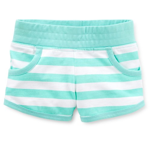 Carter's Girls Cotton Knit Striped Shorts (4 Youth, Mint Green)