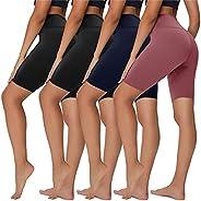 "Sundwudu 4 Pack Biker Shorts for Women - 8"" High Waist Tummy Control Summer Workout Shorts for Running Yoga At"
