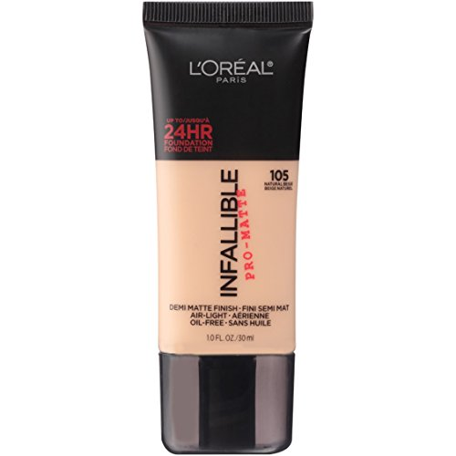 L'Oréal Paris Makeup Infallible Pro-Matte Foundation, 105 Natural Beige, 1 fl. oz.