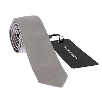 Dolce & Gabbana Corbata fina de seda de color gris y plata: Amazon ...