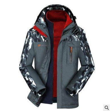 Long Jacket Grey Size Camouflage DYF Coat JACKETS Ski Collar FYM Big Zipper Sleeve Jacket SwXq70