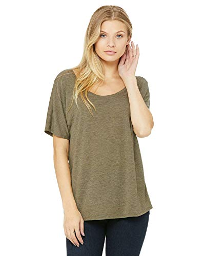 - Bella Canvas Women's Slouchy Tee, Heather Olive, Large