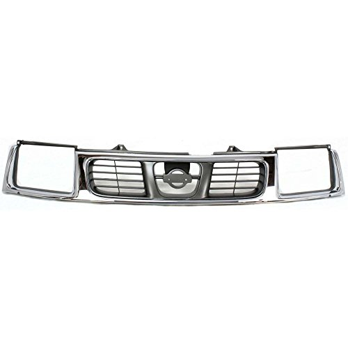 Nissan Frontier Grille Insert - Grille for Nissan Frontier 98-00 Chrome Shell W/Silver Insert