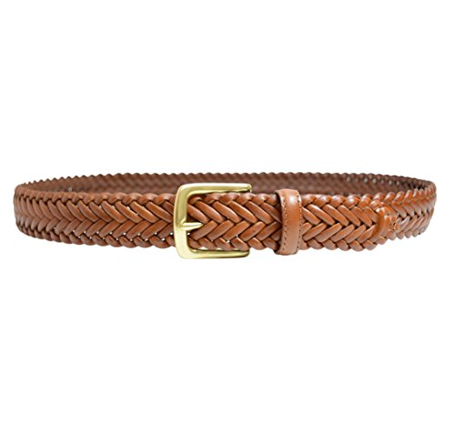 796-TAN - Toneka Men's Woven Tan Caramel Full grain Braided Leather Dress Belt (38)