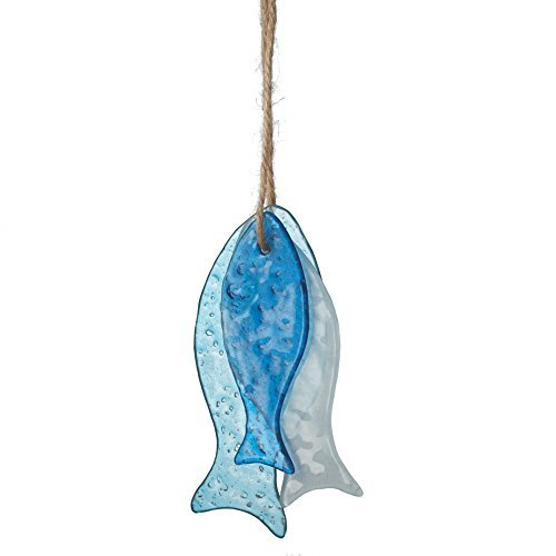 Sea Glass Hanging Fish Ornaments - Set of 3