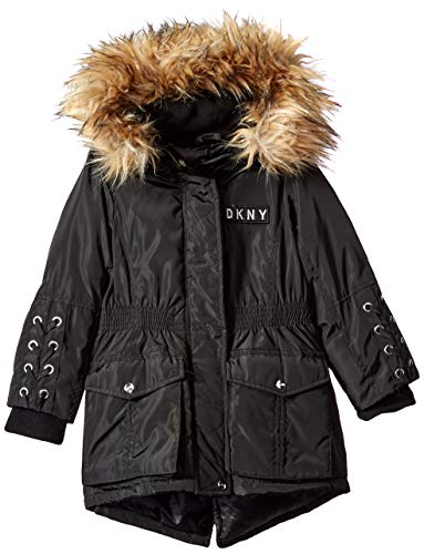 DKNY Girls' Big Nylon Anorak Jacket with Lacing Detail, Black/Natural ()