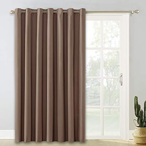 PONY DANCE Thermal Window Curtain - (100 x 84 inches, Mocha) Extra Wide Blackout Shade Vertical Blind Drapes Sliding Door Slider Curtains Privacy Protect for Bedroom, 1 Pc