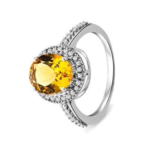 Miore - Bague femme - Or blanc 375/1000 (9 carats) 2.08 gr - Citrine et diamant 0.15 cts