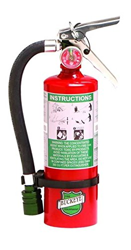 Buckeye 75555 Halotron Hand Held Fire Extinguisher with Aluminum Valve and Wall Hook, 5.5 lbs Agent Capacity, 4-1/4'' Diameter x 6-1/2'' Width x 16-3/8'' Height by Buckeye